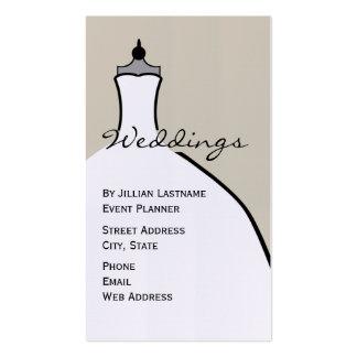 Planificador del boda - forma del vestido de boda tarjetas de visita