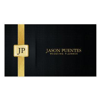 Planificador elegante del boda del negro y del oro plantilla de tarjeta de visita
