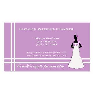 Planificador hawaiano del boda (púrpura) tarjetas de visita