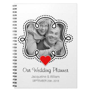 Planificador lindo del boda del corazón de la foto cuaderno