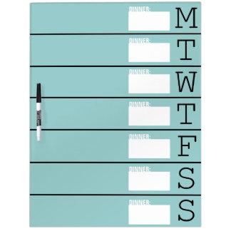 Planificador/menú semanales - grande seque al tabl tablero blanco