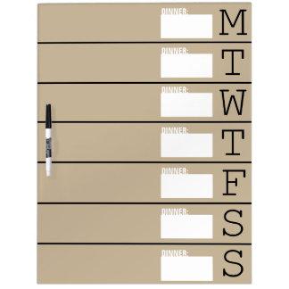 Planificador/menú semanales - grande seque al tabl pizarra blanca