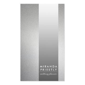 Planificador negro del boda de la raya del metal tarjetas de visita