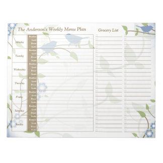 Planificador personalizado semanario floral de la  blocs de notas