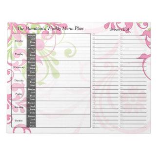 Planificador personalizado semanario floral rosado bloc de papel