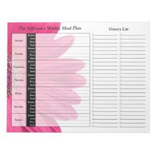 Planificador personalizado semanario rosado de la  bloc de papel