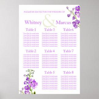 Planificador púrpura de la tabla del asiento del póster