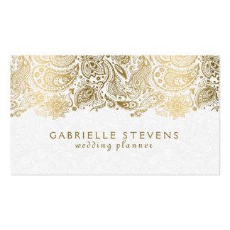 Planificador que se casa elegante del oro y de tarjetas de visita