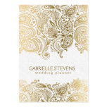 Planificador que se casa elegante del oro y de tarjeta de visita