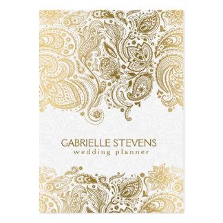 Planificador que se casa elegante del oro y de tarjetas de visita grandes