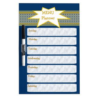 Planificador semanal azul del menú tableros blancos
