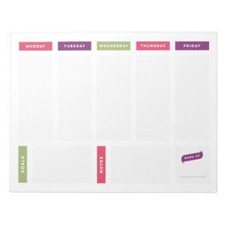 Planificador semanal - brillante y simple bloc de notas