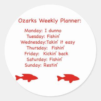 Planificador semanal de Ozarks Pegatina Redonda