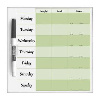 Planificador semanal del menú pizarras blancas