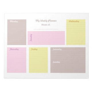Planificador semanal del papel de carta lindo bloc de notas