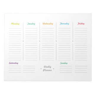 Planificador semanal retro simple bloc de notas