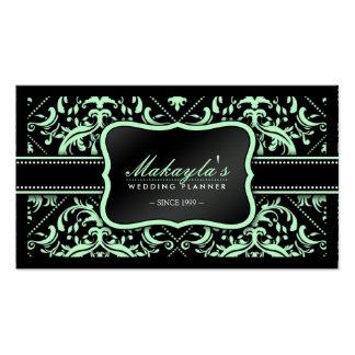 Planificador verde y negro elegante del boda del tarjetas de visita