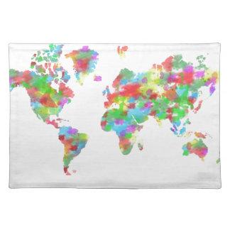 Planisferio banal de la acuarela - mapa del mundo mantel