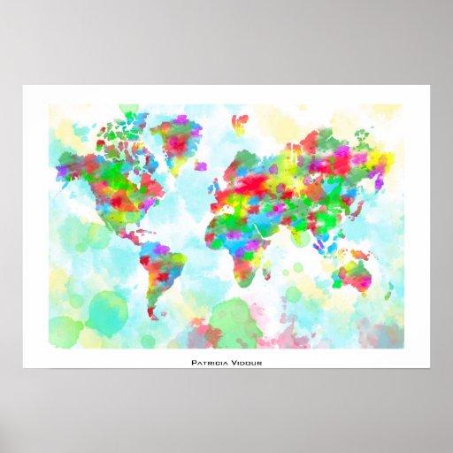 Planisferio banal de la acuarela - mapa del mundo impresiones