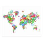 Planisferio banal de la acuarela - mapa del mundo tarjeta postal
