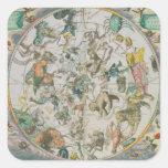 Planisferio celestial que muestra las muestras del pegatina cuadrada