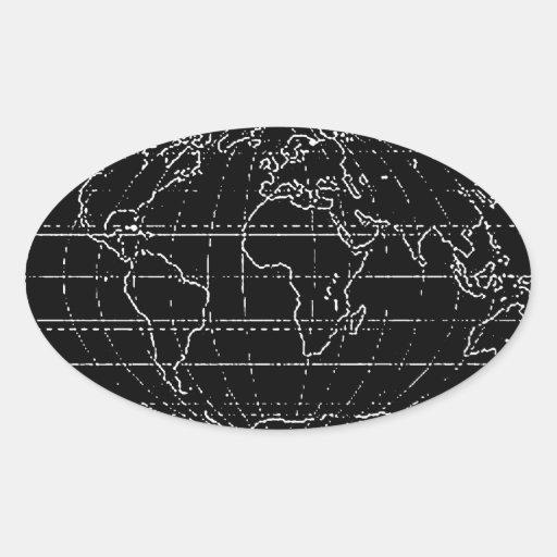 planisferio/mapas simples pegatina ovalada