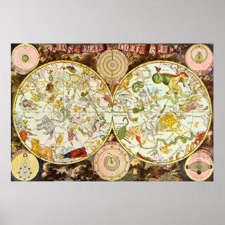Planisphæri Cœleste Astrology Chart print