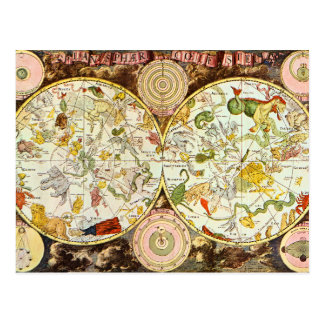 Planisphæri Cœleste 1698 - carta de la astrología Tarjetas Postales