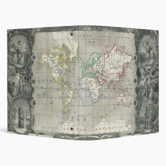 Planisphere 1847 Victor Levasseur Map of the World Binder