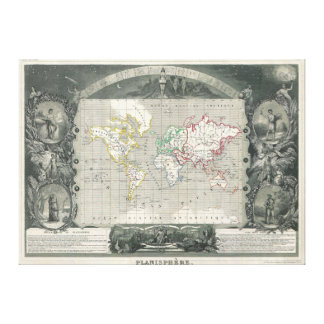 Planisphere 1847 Victor Levasseur Map of the World Canvas Print