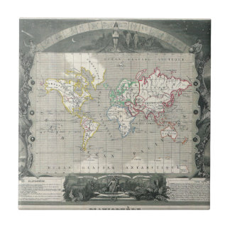 Planisphere 1847 Victor Levasseur Map of the World Ceramic Tile