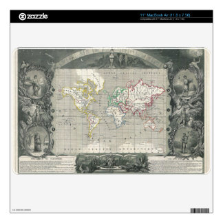 Planisphere 1847 Victor Levasseur Map of the World Decal For The MacBook Air