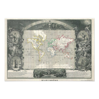 Planisphere 1847 Victor Levasseur Map of the World Personalized Announcements