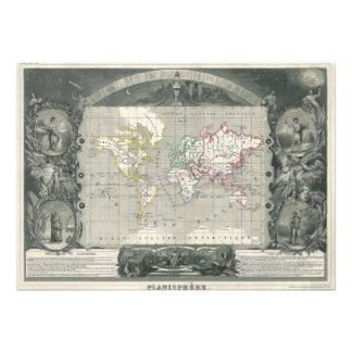 Planisphere 1847 Victor Levasseur Map of the World Invites