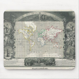 Planisphere 1847 Victor Levasseur Map of the World Mousepad