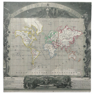 Planisphere 1847 Victor Levasseur Map of the World Napkin