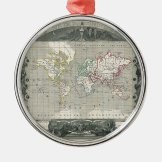 Planisphere 1847 Victor Levasseur Map of the World Round Metal Christmas Ornament