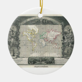 Planisphere 1847 Victor Levasseur Map of the World Double-Sided Ceramic Round Christmas Ornament