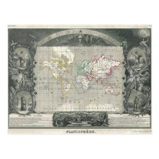 Planisphere 1847 Victor Levasseur Map of the World Postcard