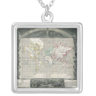 Planisphere 1847 Victor Levasseur Map of the World Silver Plated Necklace