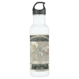 Planisphere 1847 Victor Levasseur Map of the World Stainless Steel Water Bottle