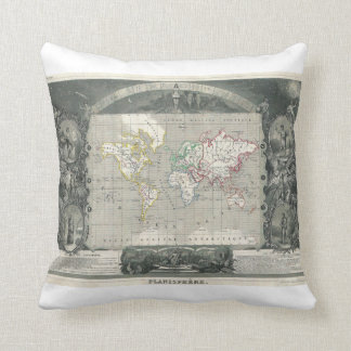 Planisphere 1847 Victor Levasseur Map of the World Throw Pillow