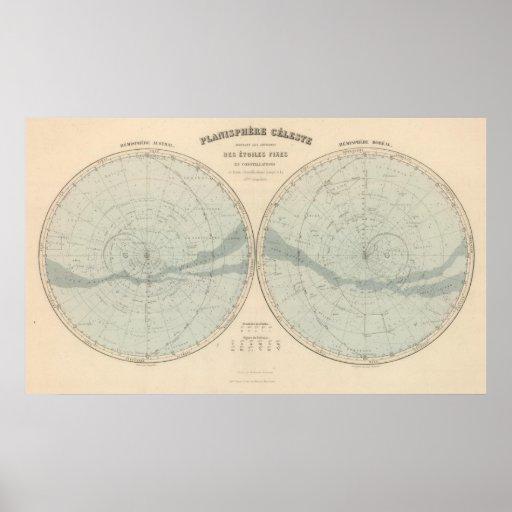 Planisphere Celeste Hemisphere Poster