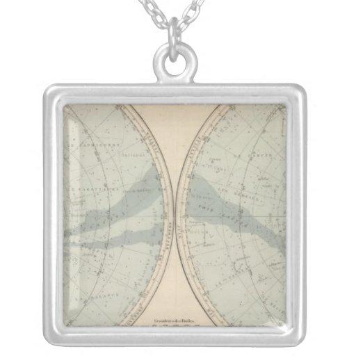 Planisphere Celeste Hemisphere Square Pendant Necklace