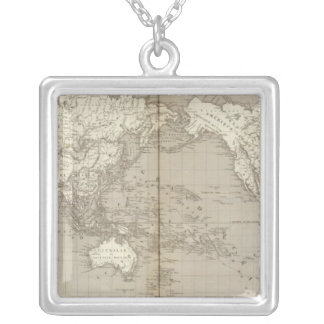 Planisphere diagram of solar system silver plated necklace
