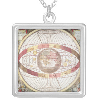 Planisphere, from 'Atlas Coelestis' Silver Plated Necklace