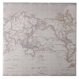 Planispheric Map of the World Large Square Tile