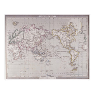 Planispheric Map of the World Postcard