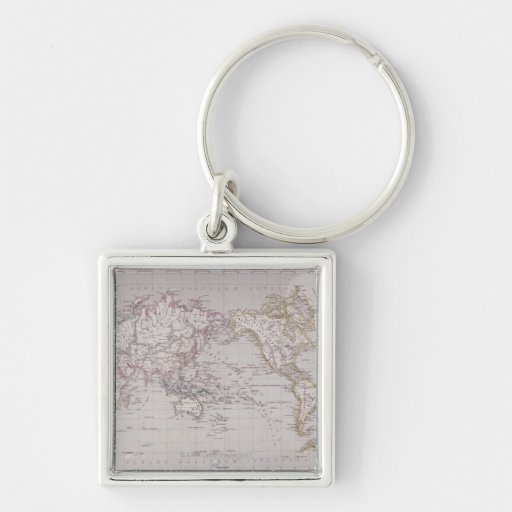 Planispheric Map of the World Silver-Colored Square Keychain