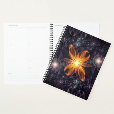 Halloween Themed Planner with an Orange Star Lily Flower at Night